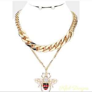 NEW! Honey Bee Pearl Layered Gold Chain Necklace